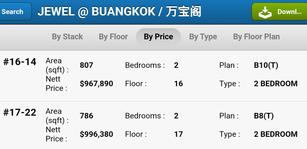 Jewel at Buangkok prices 2room