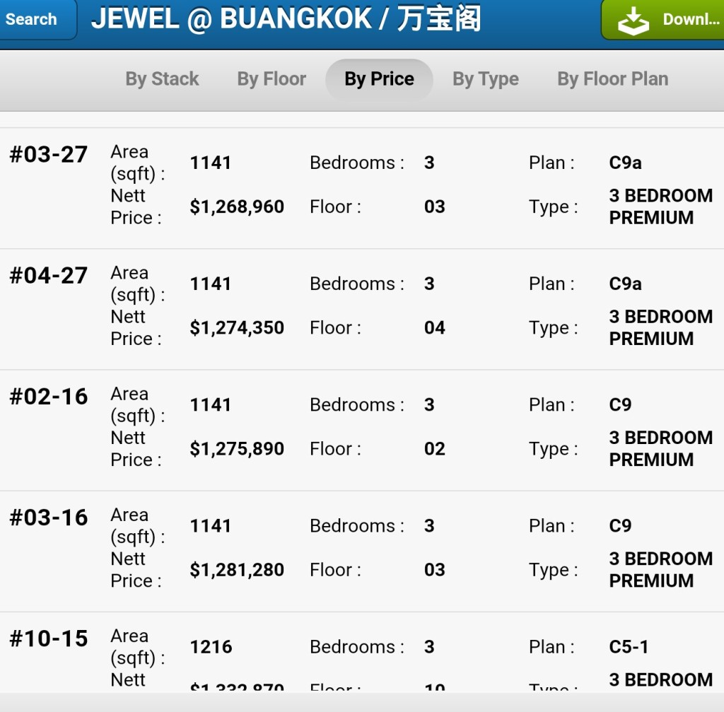 Jewel at Buangkok prices 3room